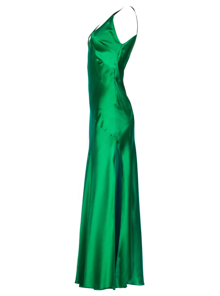 JOI SILK DRESS - EMERALD GREEN