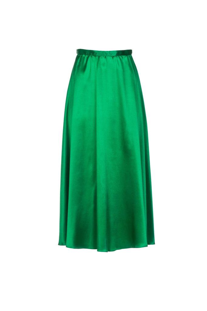 LUNA SILK SKIRT - EMERALD GREEN