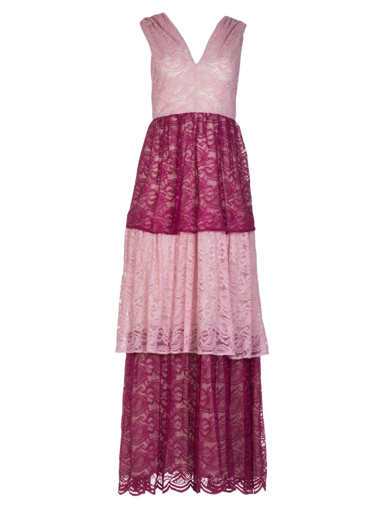 ELLA LACE & LINEN DRESS - PINK & CHERRY