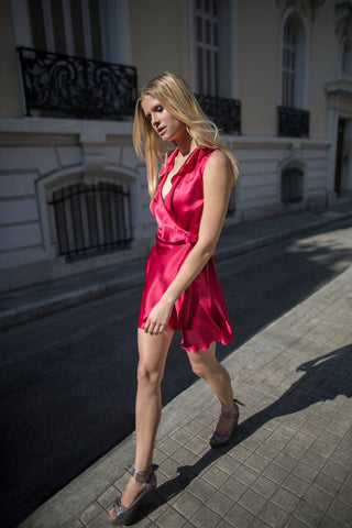 RENEE SILK DRESS - FUCHSIA