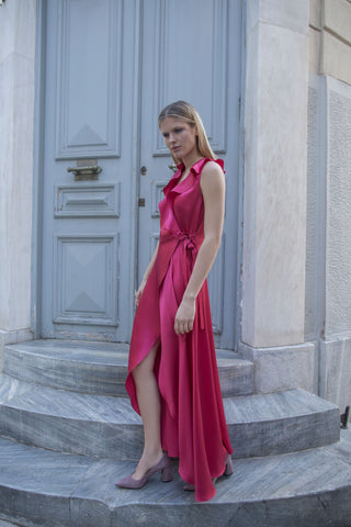 DORIS SILK DRESS - FUCHSIA