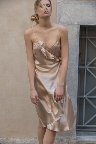 ALOISE SILK DRESS - GOLDEN BEIGE