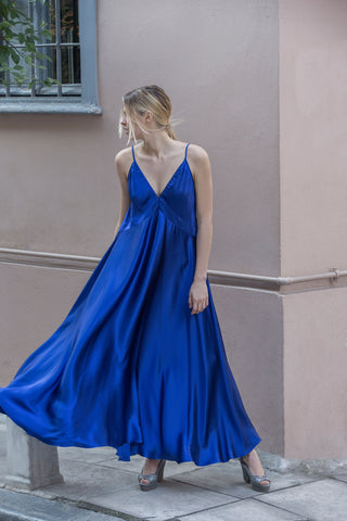DIANE SILK DRESS - BLUE