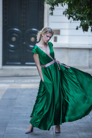 ODETTE SILK DRESS - GREEN
