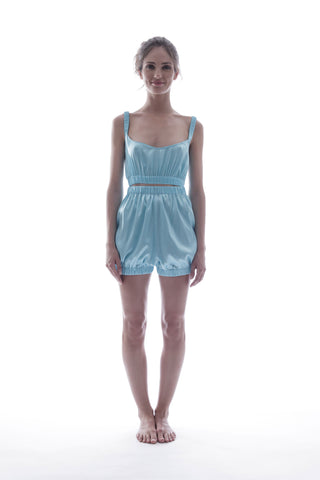 SUNDAYS ARE FOR EVER - SILK SLEEPWEAR SET IN BLUE