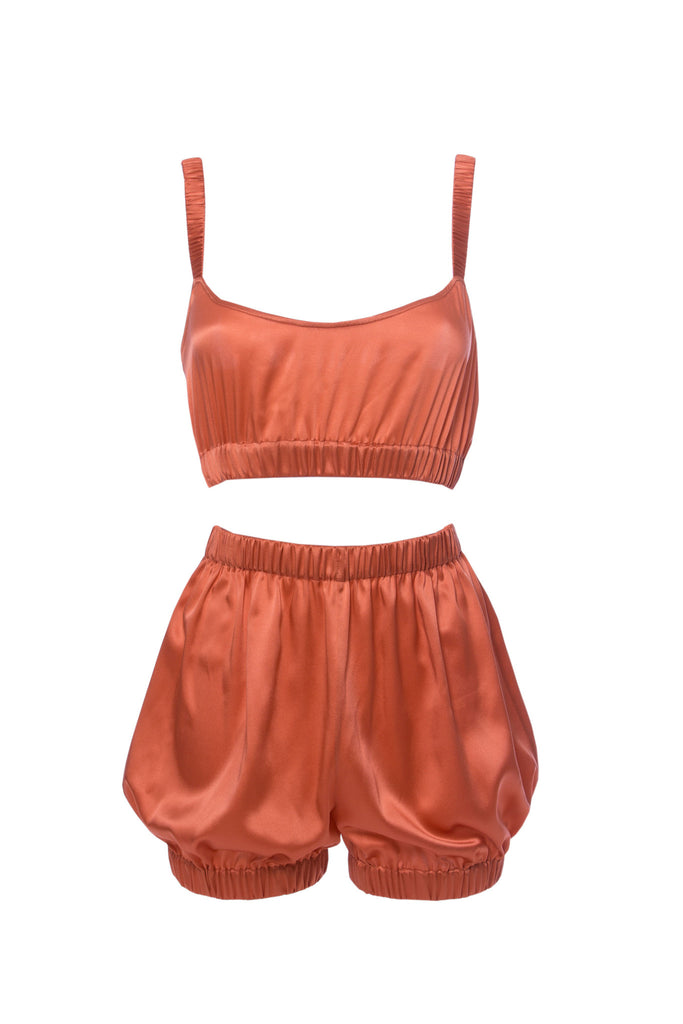 roses-are-red - SUNDAYS ARE FOR EVER - SILK SET IN CORAL - NIGHTWEAR