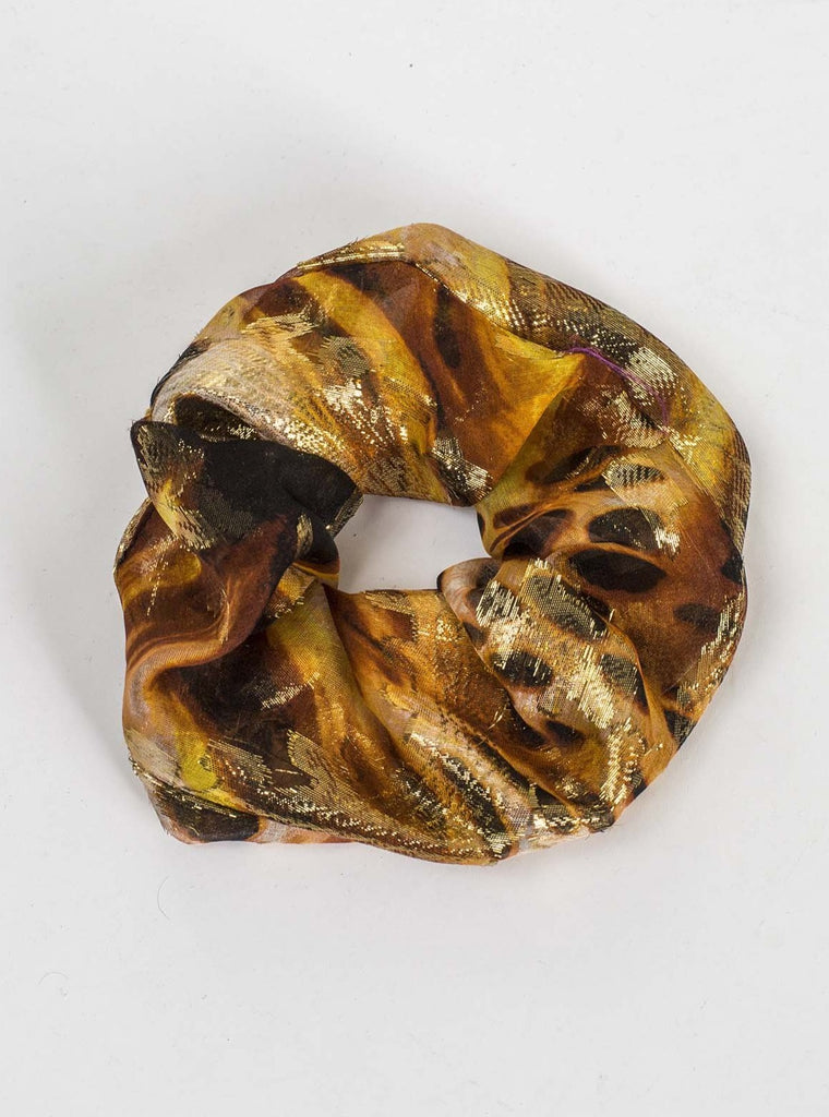 SILK SCRUNCHIE - GOLD ANIMAL PRINT