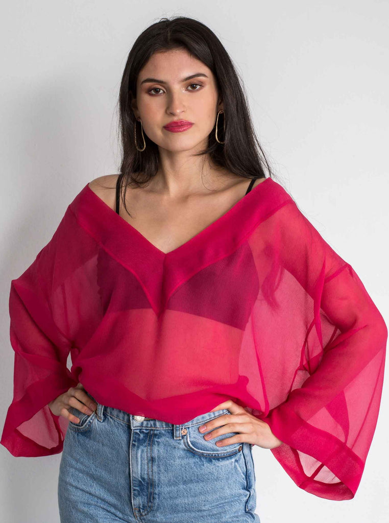 NOEMI SILK TOP - PUNCH