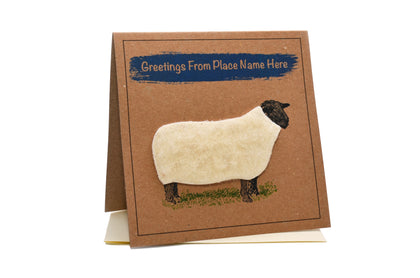 GC001 SHEEP (GREETINGS FROM... (PLACE NAME)) GREETING CARD