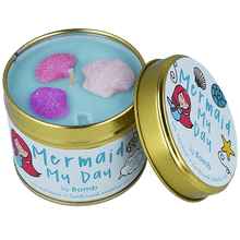 Load image into Gallery viewer, Mermaid My Day Tin Candle
