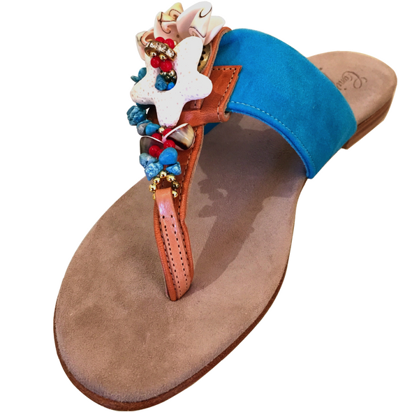 BLUE NATURAL SHELL SANDAL
