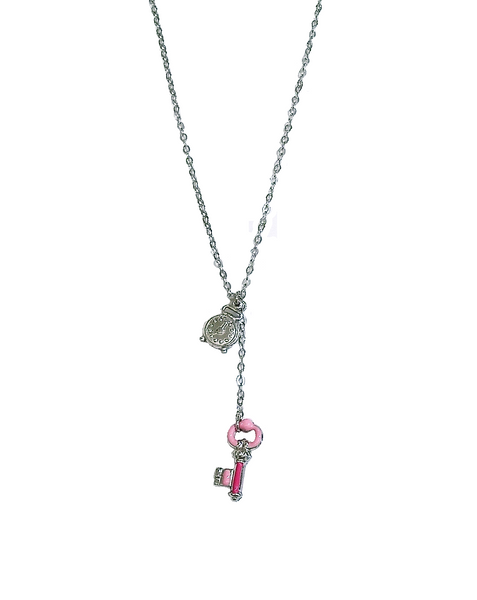 PINK KEY & ALARM CLOCK LONG NECKLACE
