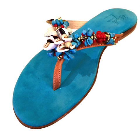 BLUE SANDAL WITH SHELLS