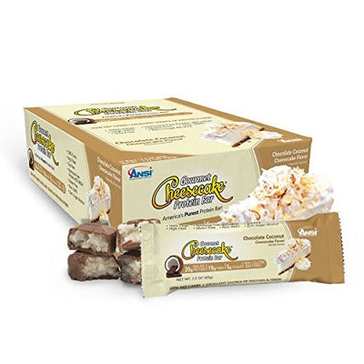 ANSI Gourmet Cheesecake Protein Bar (Pack of 12 bars) Chocolate Coconut