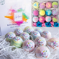 Splyon Bath collection - Bath Bombs Moisturizing Set of 12 Gift Pack, Handmade XL 3.5oz Individually Wrapped Jumbo Essential Oil Fizzy Unicorn Eggs & a gift of 6 Rose Soaps, Scented Change Water Color Mermaid Surprise Detox Fizz Balls