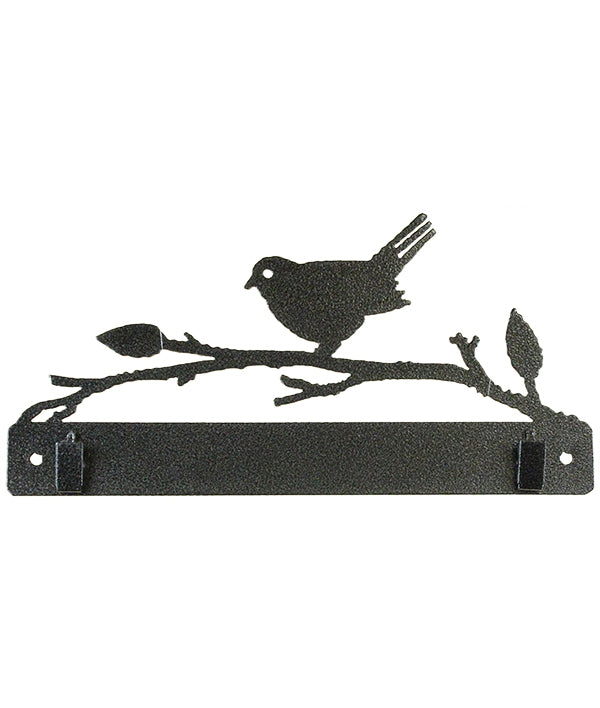 PS 10 inch Bird on Branch w/Clips Charcoal