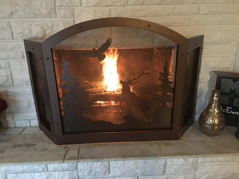 59 inches wide by 34 inches tall Elk Fireplace Screen