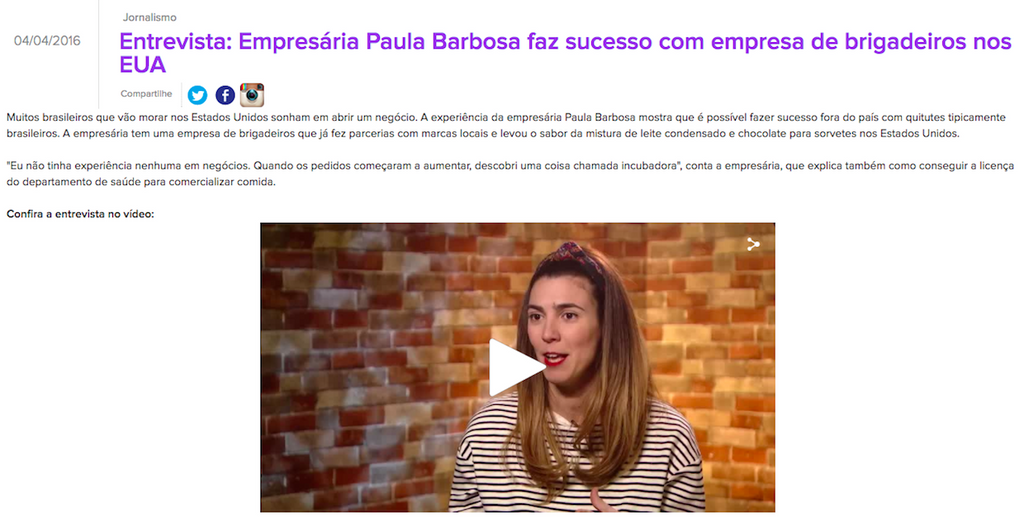 Mila Burns Interviews Paula Barbosa for Globo Internacional