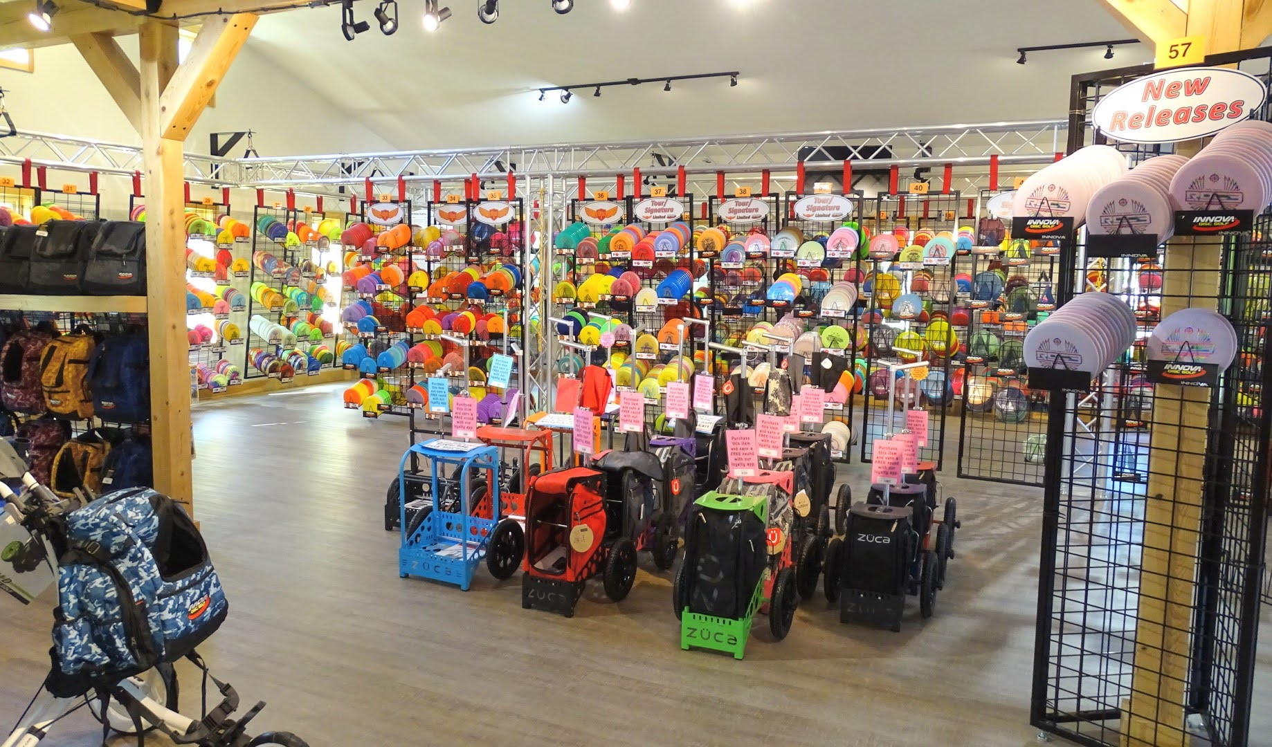 inside view of sabattus disc golf pro shop