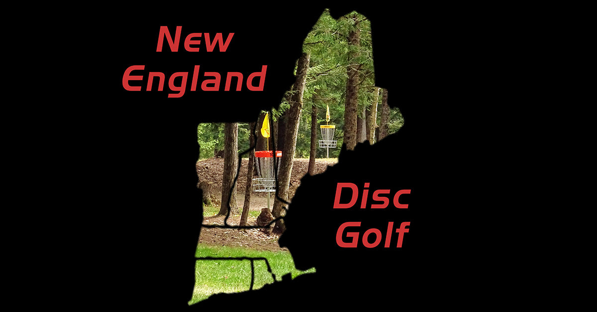 silhouette of new england against a backdrop of SDG courses with text New England Disc Golf
