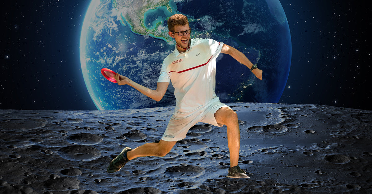 thomas gilbert throwing a disc golf disc on the moon