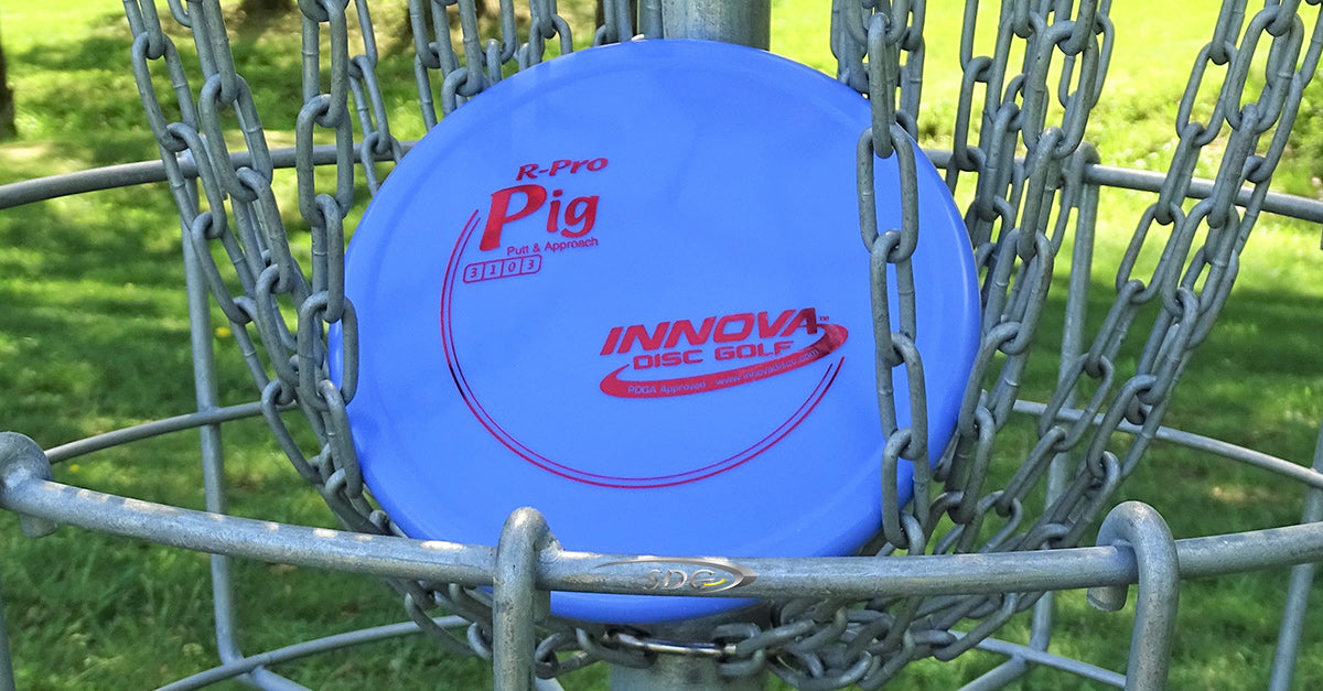 Innova R-Pro Pig resting in the chains of a disc golf basket at sabattus disc golf