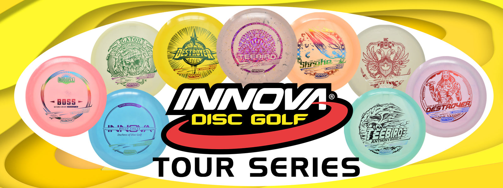 innova 2020 tour series discs arranged in an oval