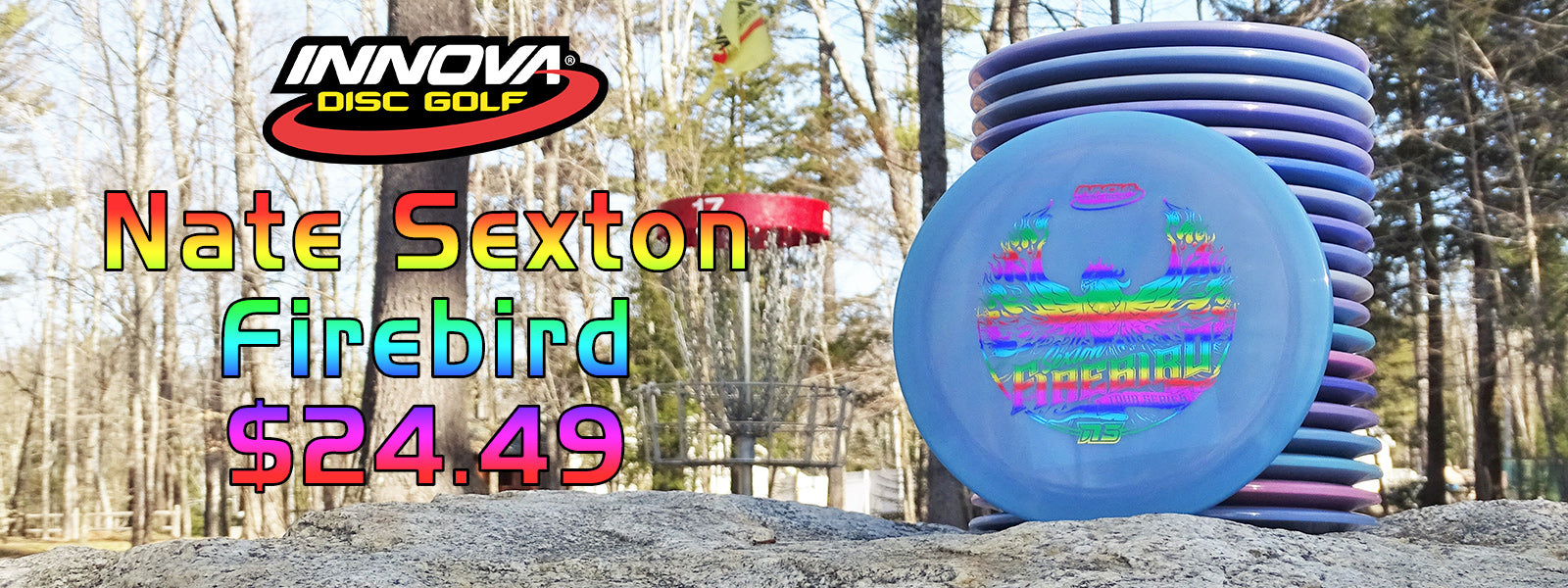 innova nate sexton firebirds stacked ona a rock at sabattus disc golf