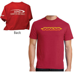 innova-striped-bar-logo-short-sleeve-w-sdg-logo-discmania-disc-golf-shirt Medium Red