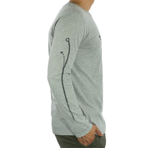 Innova Striped Bar Logo Long Sleeve Tee Disc Golf Apparel Grey Side View