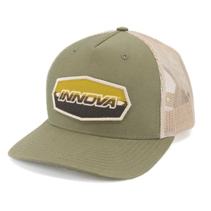 Innova Striped Bar Patch Snapback Mesh Disc Golf Cap Loden-Khaki
