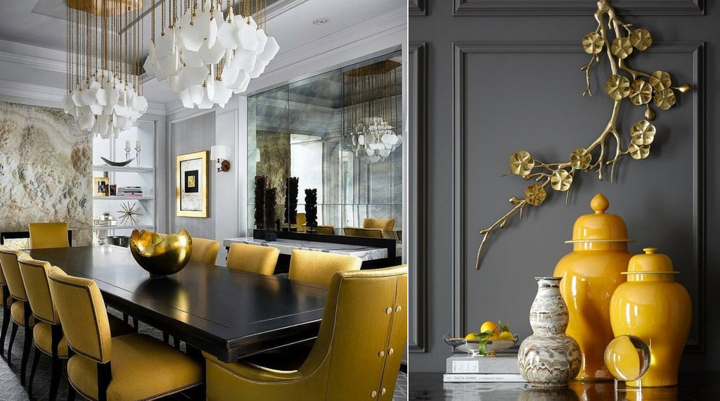 Yellow and grey colour trend