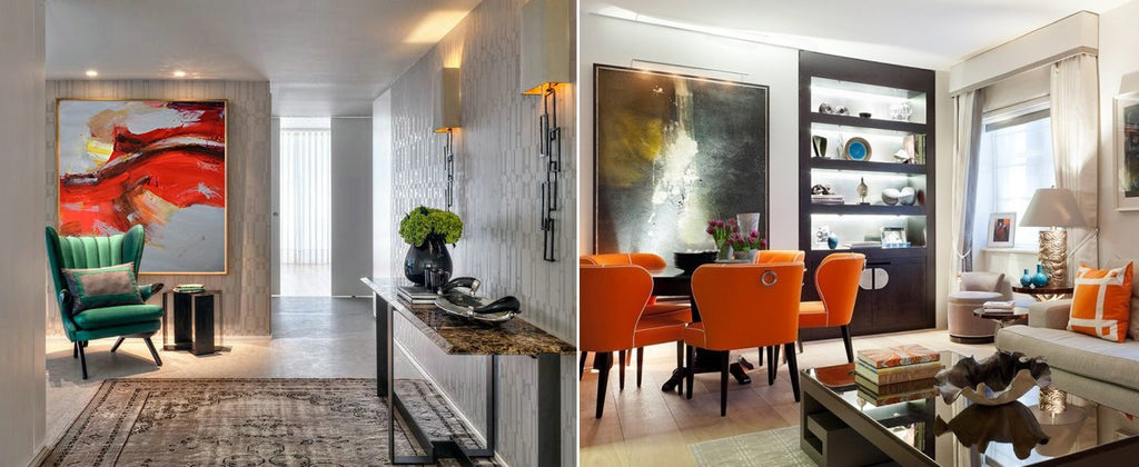 how large abstract paintings can change your home interior belle