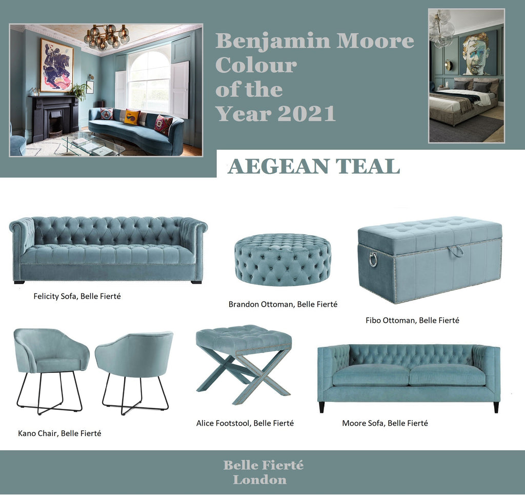 Aegean Teal -Banjamin Moore colour of the Year 2021; Furniture and Home Decor Ideas
