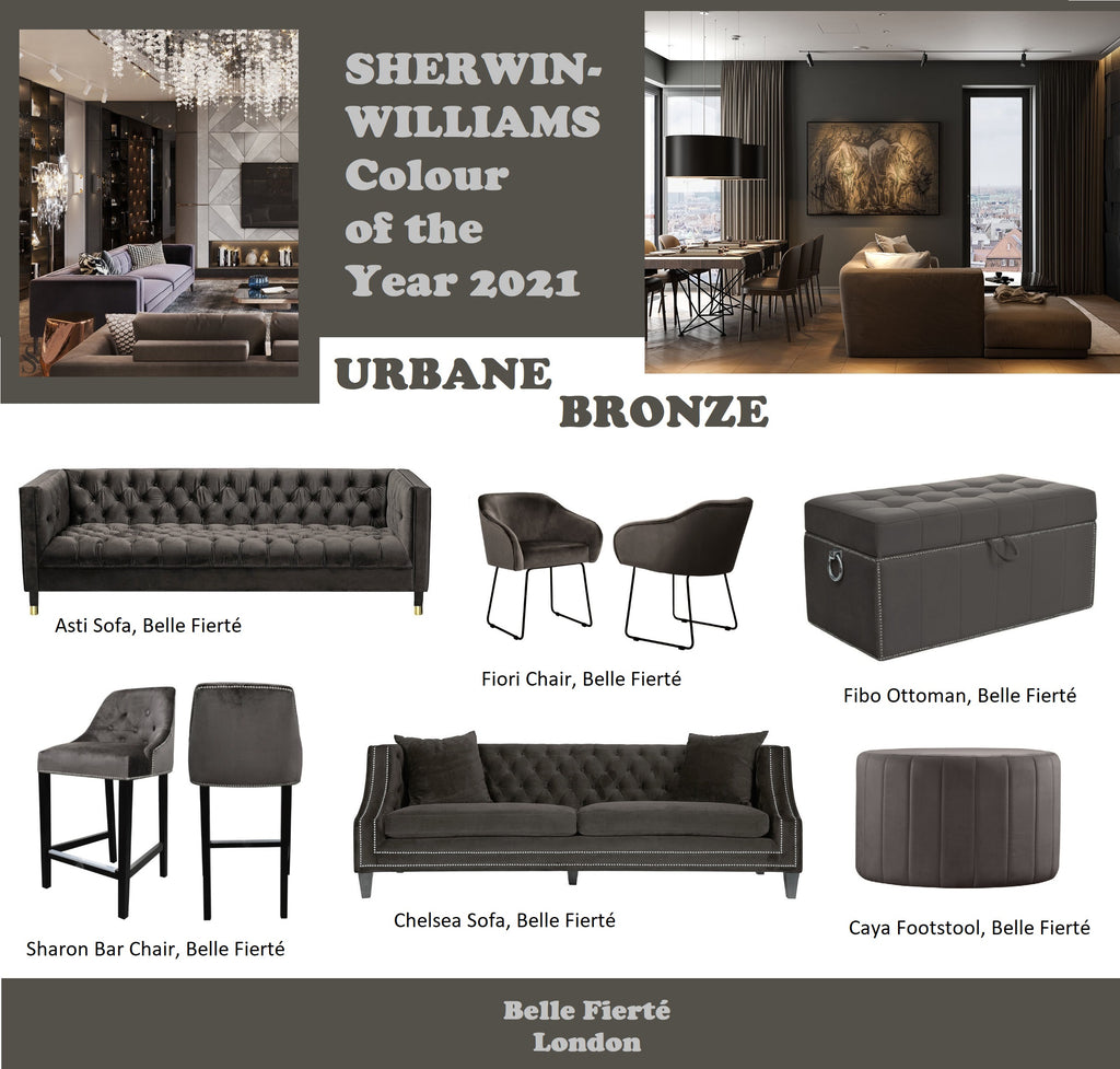 Sherwin-Williams Colour of the Year: Urbane Bronze; Furniture Colour Trend for 2021