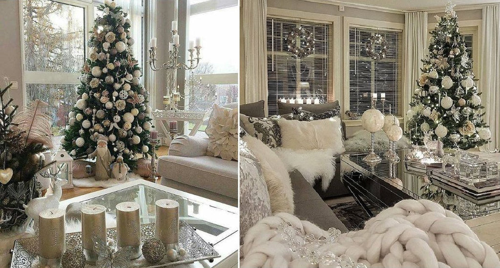 Christmas Home Decor.Glamour White Silver And Gold Christmas Home Decor Belle
