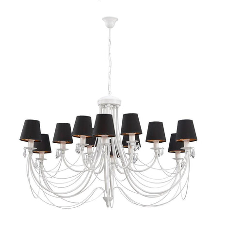 12 Black Shade White Finish Extra Large Metal Chandelier-Chandelier-Belle Fierté
