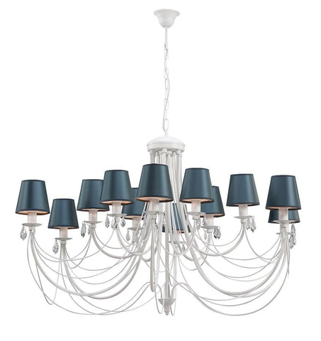 12 Satin Blue Shade White Finish Extra Large Metal Chandelier-Chandelier-Belle Fierté