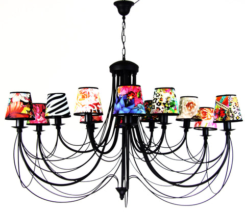 Extra Large 12 Light Colourful Shade Chandelier-Chandelier-Belle Fierté