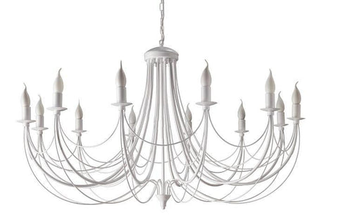 12 Light Extra Large White Frame Candle Style Metal Chandelier-Chandelier-Belle Fierté