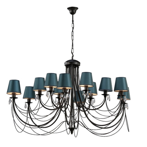 12 Light Metallic Blue Shade Black Finish Extra Large Metal Chandelier-Chandelier-Belle Fierté