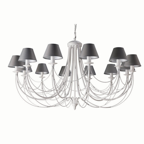 Charcoal Shade White Finish Metal Chandelier-Chandelier-Belle Fierté