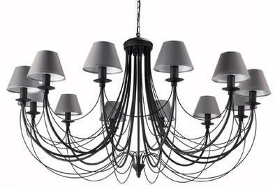 12 Light Extra Large Grey Shade Black Finish Metal Chandelier-Chandelier-Belle Fierté