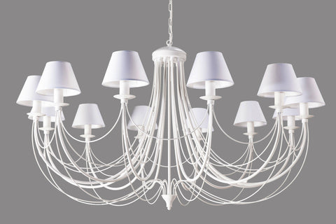 White Shade White Finish Metal Chandelier-Chandelier-Belle Fierté