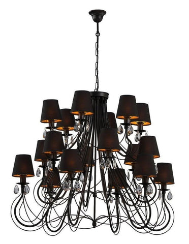 18 Light Black Shade Extra Large Traditional Chandelier-Chandelier-Belle Fierté
