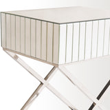 PARIS- Luxury Mirror Glass Side Table, Chrome Base Glamour Bedside Table-Bedside table-Belle Fierté