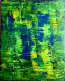 "Handmade Acrylic Canvas Green Abstract Painting -""Green day""-Wall art-Belle Fierté"