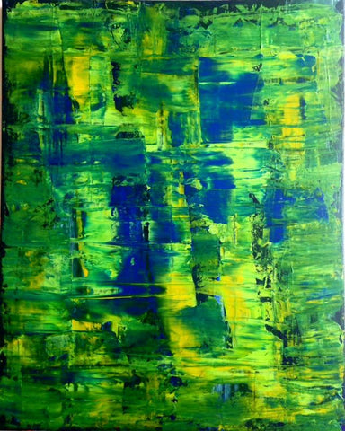 "Handmade Acrylic Canvas Green Abstract Painting 40x50cm -""Green day""-Wall art-Belle Fierté"