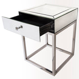 ROME- Luxury Mirror Glass Side Table, Chrome Base Glamour Bedside Table-Bedside table-Belle Fierté