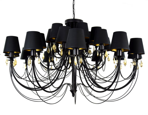 24 Light Black Shade Ceiling Lamp Chandelier-Chandelier-Belle Fierté